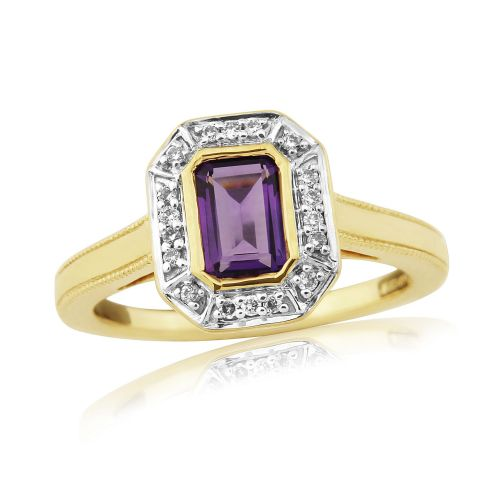 Amethyst And Diamond 9 Carat Gold Octaganal Cut Cluster Ring